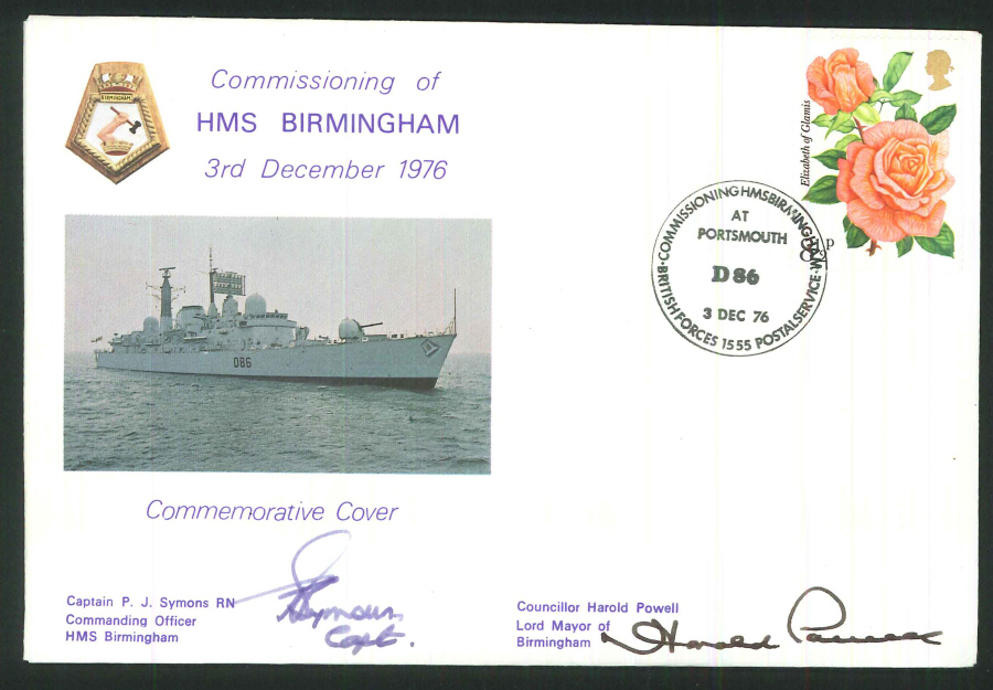 1976 - Commissioning of HMS Birmingham Commemorative Cover - BF1555PS Postmark - Signed