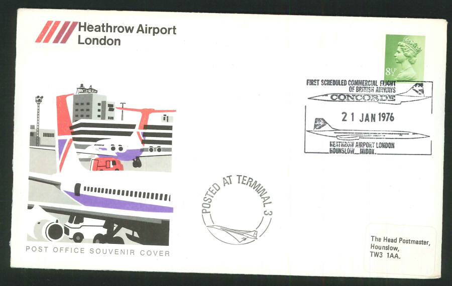 1976 - First Scheduled Commercial Flight of British Airways Concorde, Commemorative Cover - Heathrow Airport London Postmark