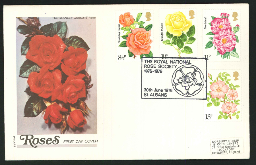 1976 - Roses First Day Cover- CDS National Rose Society, St.Albans Postmark