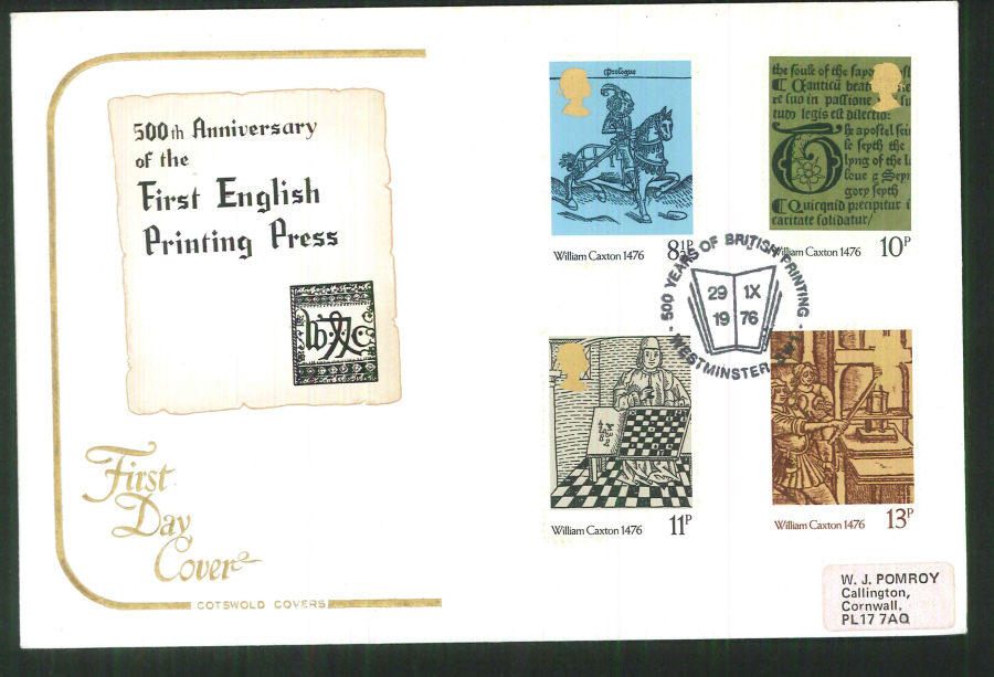 1976 Cotswold Caxton FDC British Printing Westminster Postmark