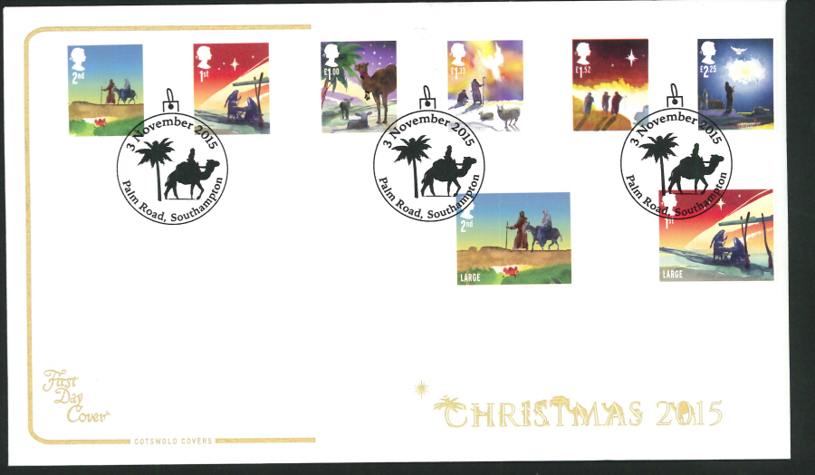 2015 - Cotswold Christmas Set First Day Cover, Palm Road Southampton Postmark