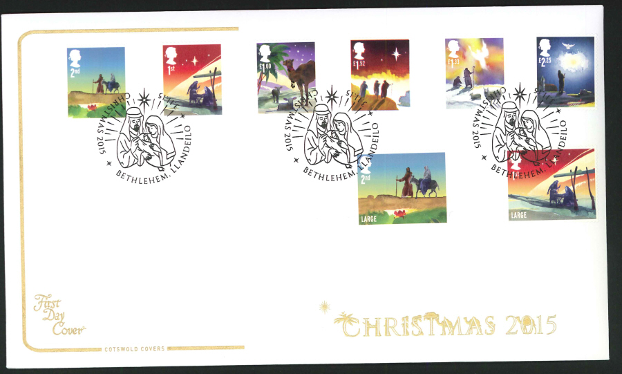 2015 - Cotswold Christmas Set First Day Cover, Bethlehem Postmark