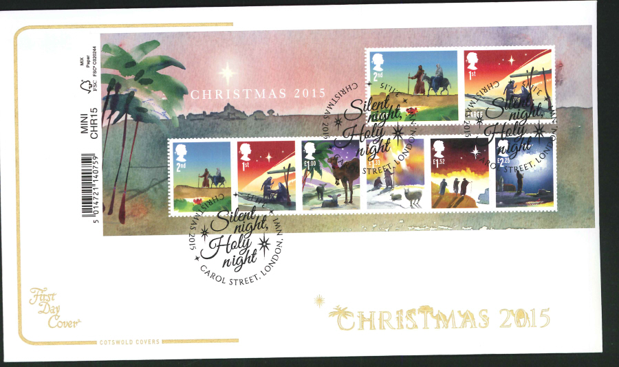 2015 - Cotswold Christmas Mini Sheet First Day Cover,Carol Street London Postmark