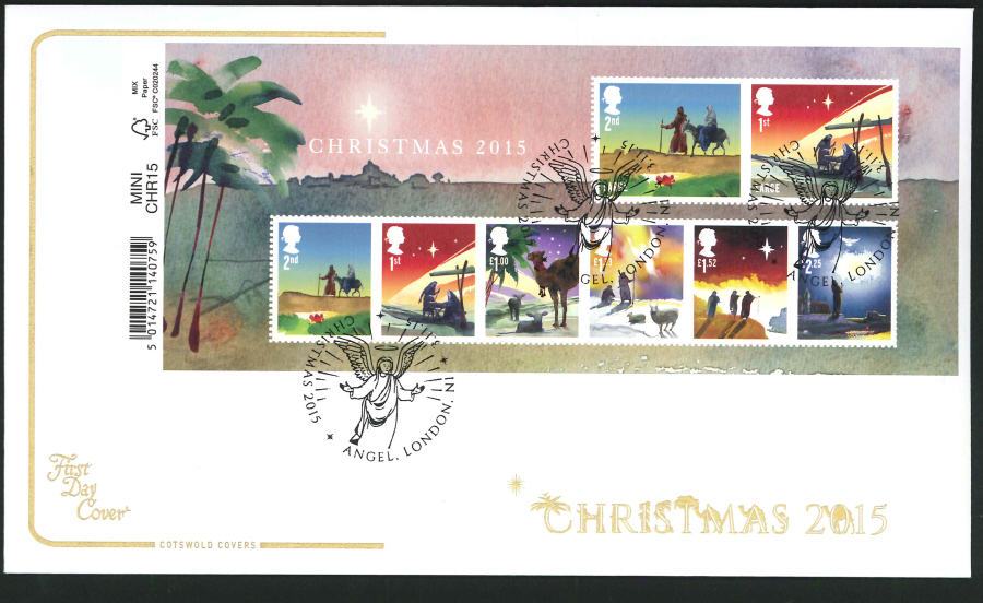 2015 - Cotswold Christmas Mini Sheet First Day Cover,Angel, London Postmark