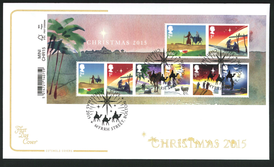 2015 - Cotswold Christmas Mini Sheet First Day Cover, Myrrh Street,Bolton Postmark