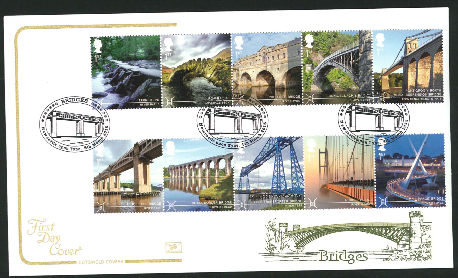 2015 Cotswold Bridges First Day Cover, Newcastle upon Tyne Postmark