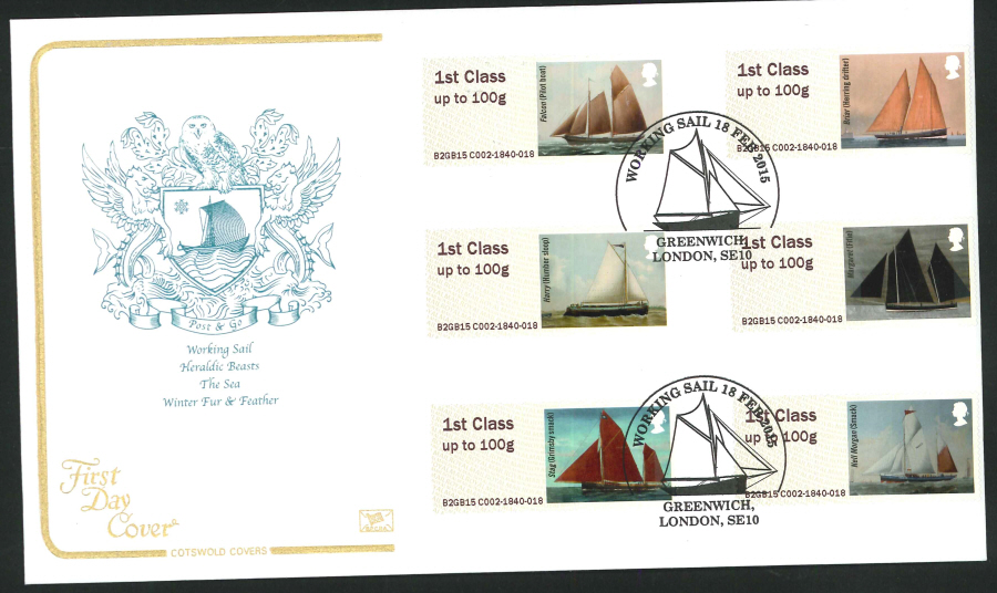 2015 Cotswold Working Sail Post & Go First Day Cover,Greenwich Postmark