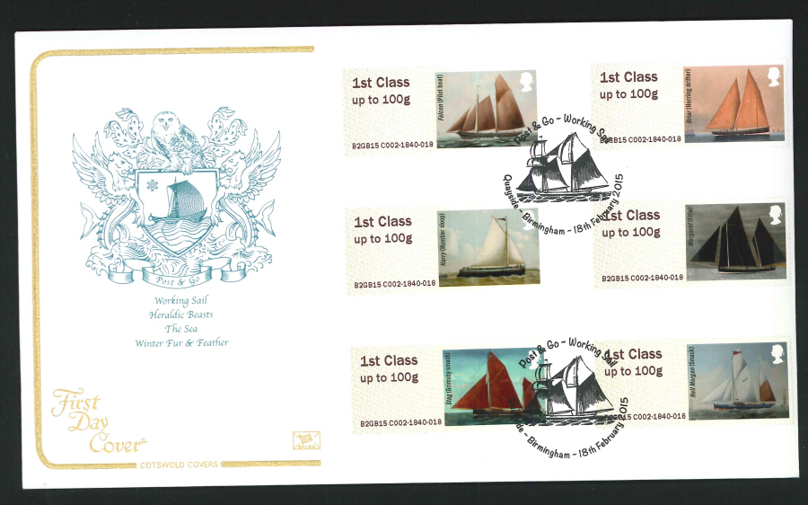 2015 Cotswold Working Sail Post & Go First Day Cover, Quayside Birmingham Postmark