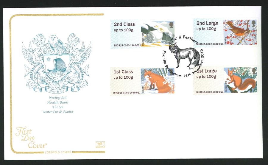2015 Cotswold Fur & Feathers l Post & Go First Day Cover, Fox Hill Birmingham Postmark