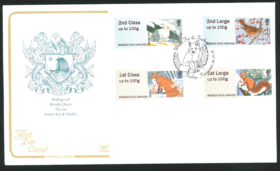 2015 Cotswold Fur & Feathers l Post & Go First Day Cover, Foxley, Towcester Postmark