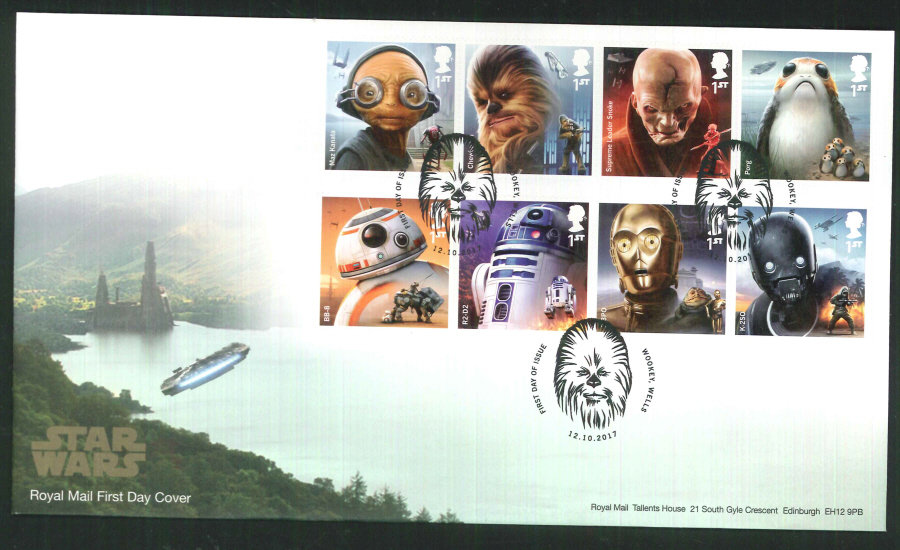 "2017 - First Day Cover ""Star Wars"", Royal Mail, FDI Wookey, Wells (Chewbacca) Pictorial Postmark"