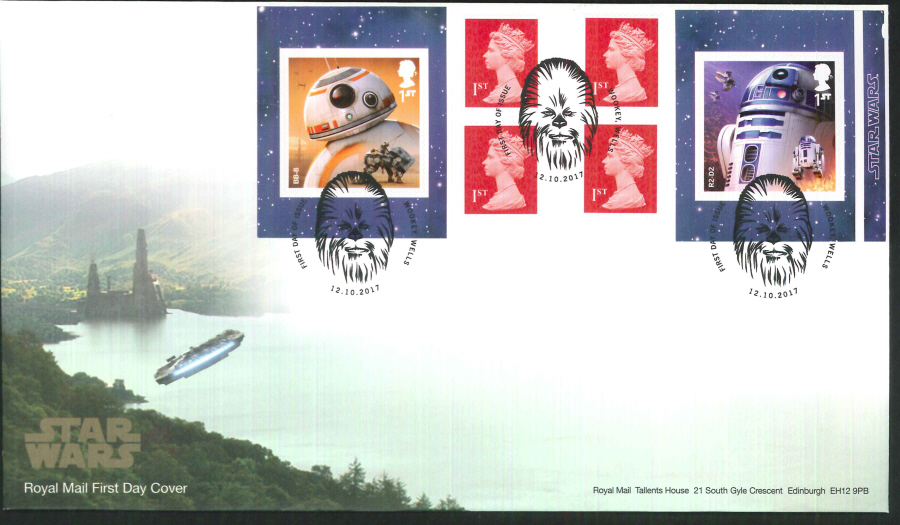 "2017 - First Day Cover ""Star Wars"" Droids Retail Booklet, Royal Mail, FDI Wookey, Wells (Chewbacca) Pictorial Postmark"