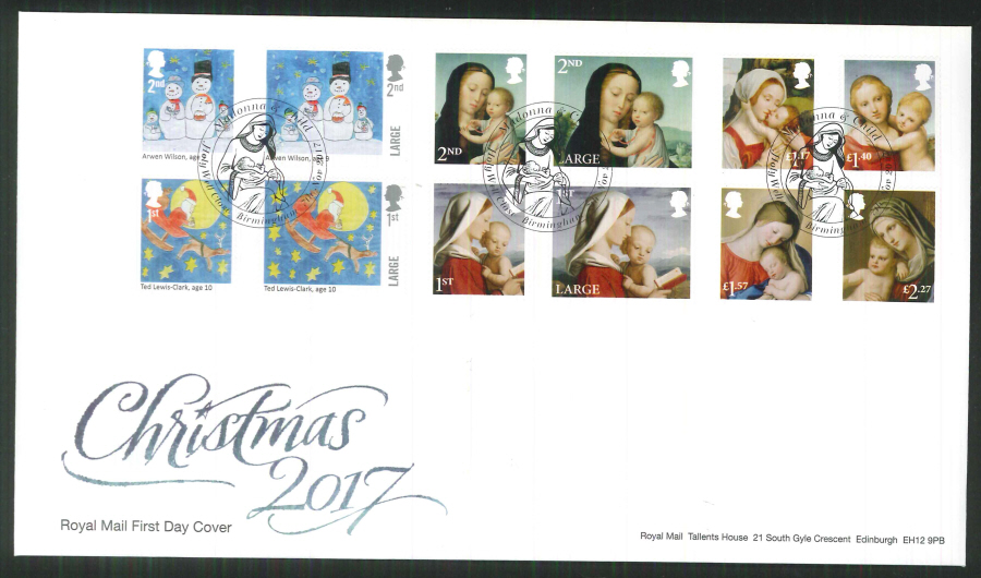 2017 Christmas FDC - Holy Well Close, Birmingham (Madonna & Child) Postmark