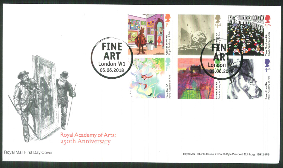 2018 FDC - Royal Academy of Arts 250th Ann.-Fine Art London W1 Pmk