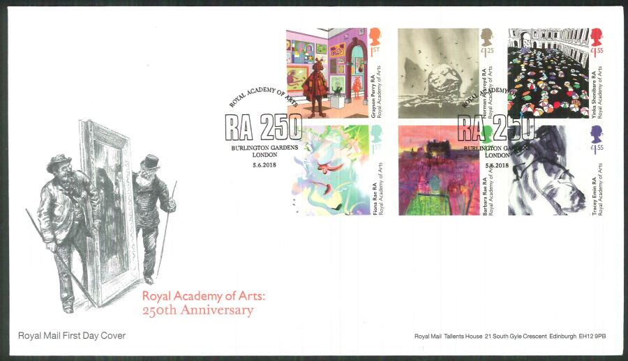2018 FDC - Royal Academy of Arts 250th Ann.- Burlington Gardens London Pmk
