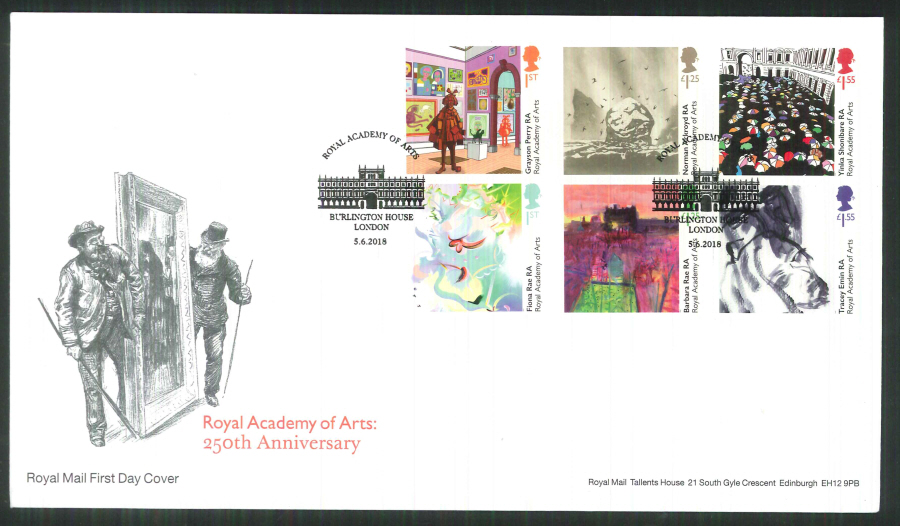 2018 FDC - Royal Academy of Arts 250th Ann.- Burlington House London Pmk