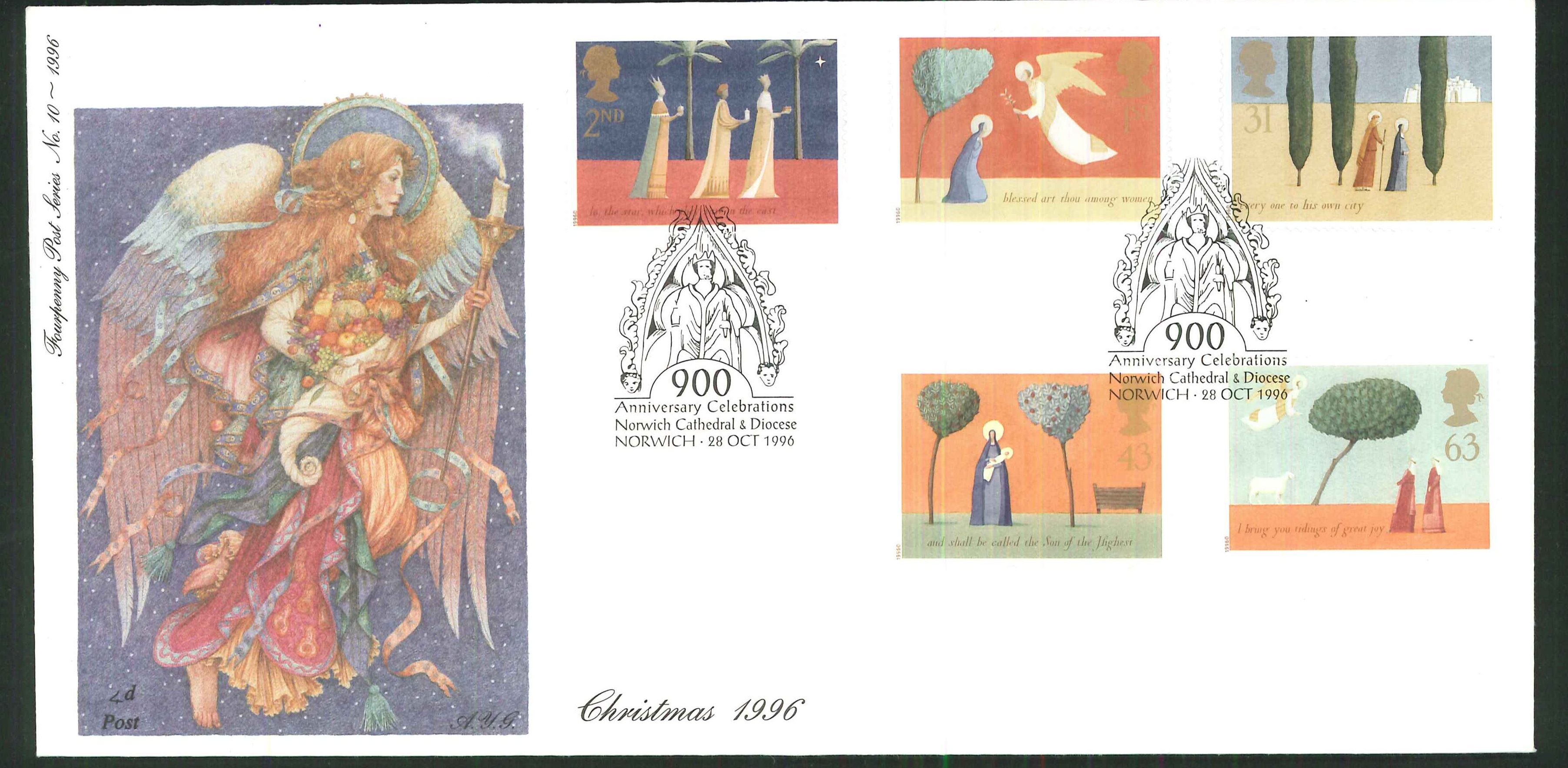1996 - Christmas, First Day Cover - Norwich Cathedral Postmark