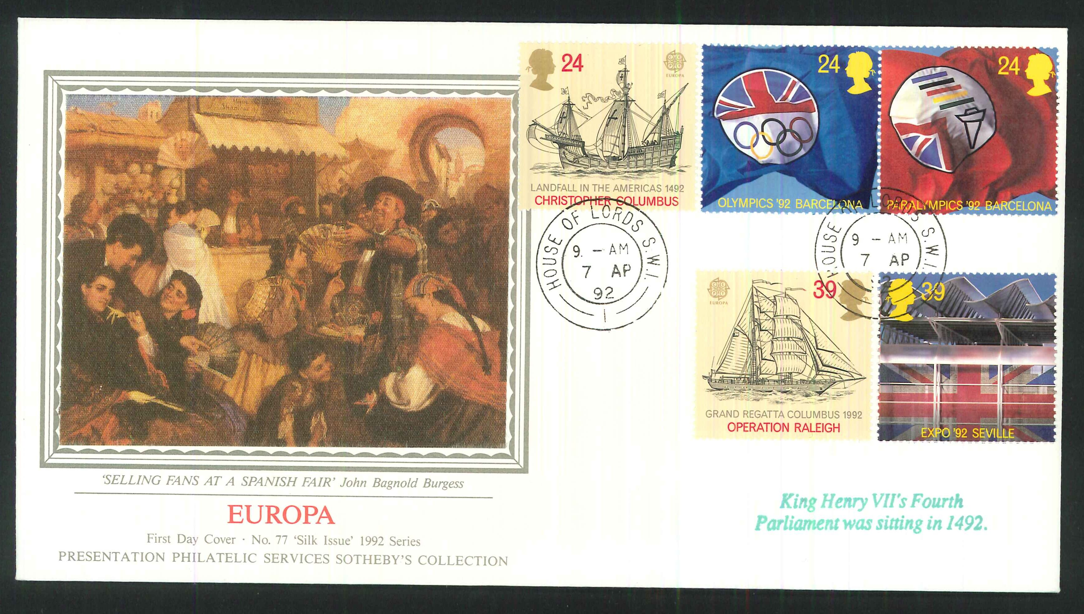 1992 - Europa, First Day cover- House of Lords CDS Postmark
