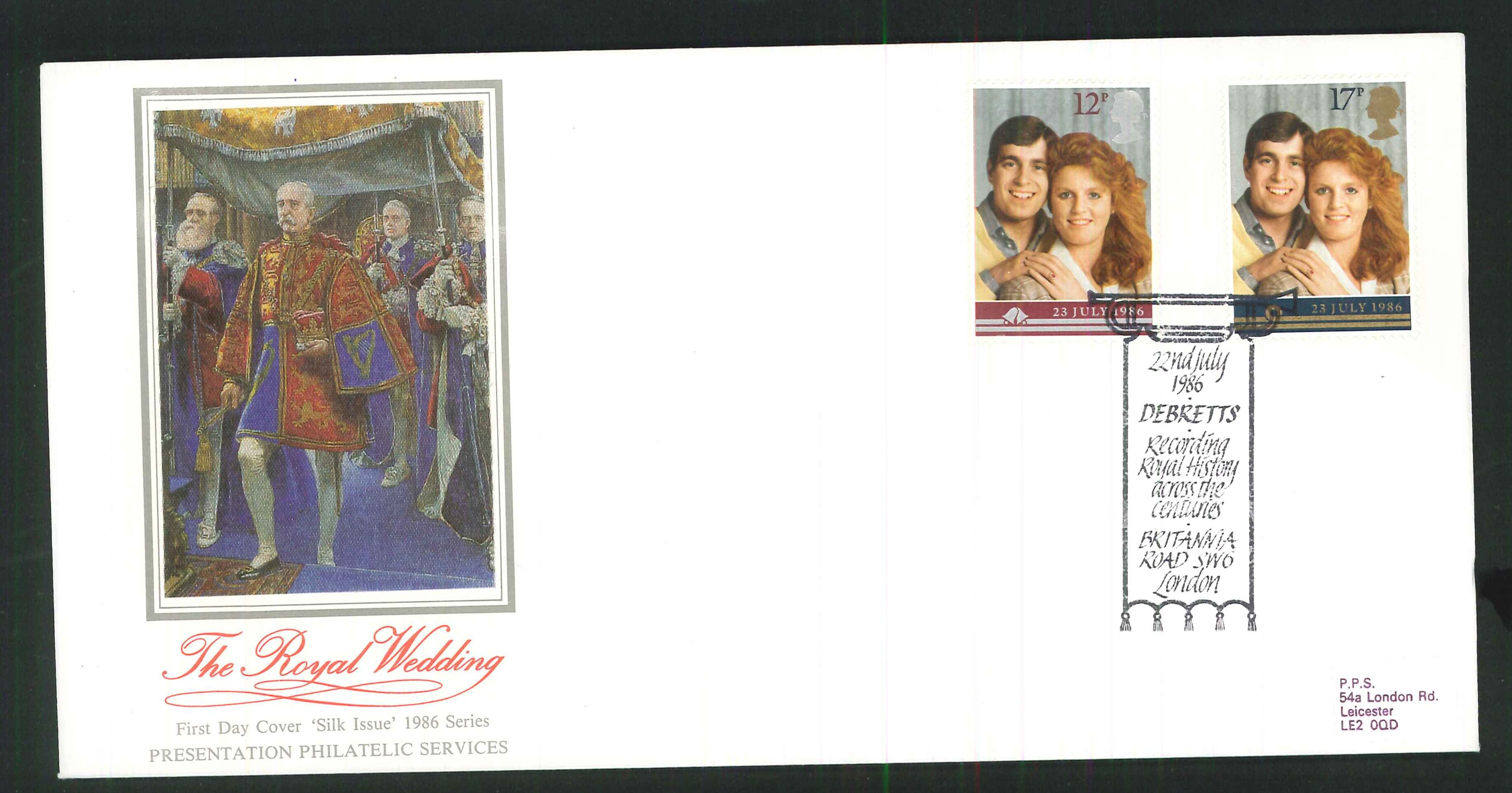 1986 - Royal Wedding First Day Cover- Debretts Recording Royal History Postmark