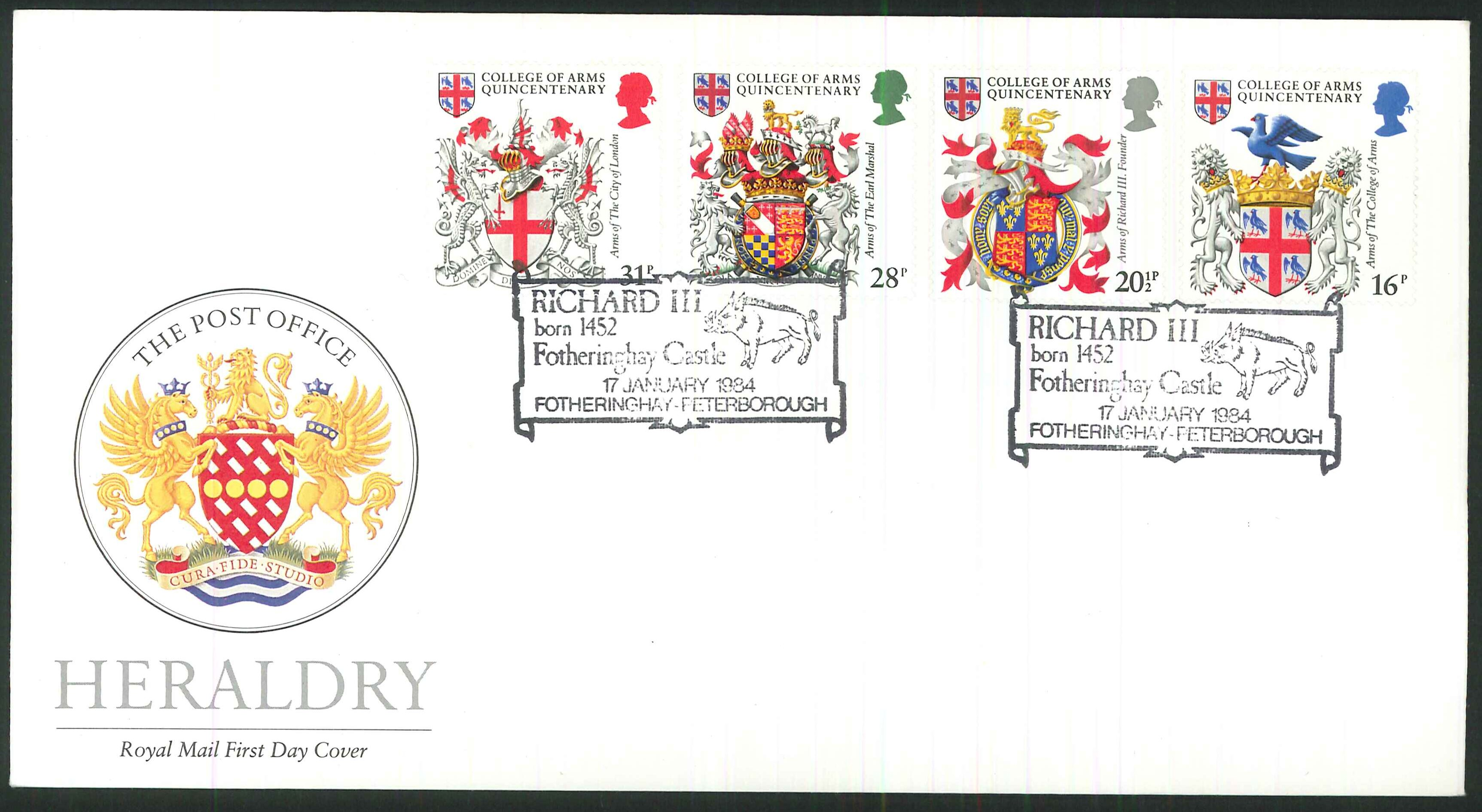1984 - Heraldry, First Day Cover , Fotheringhay, Peterborough Postmark