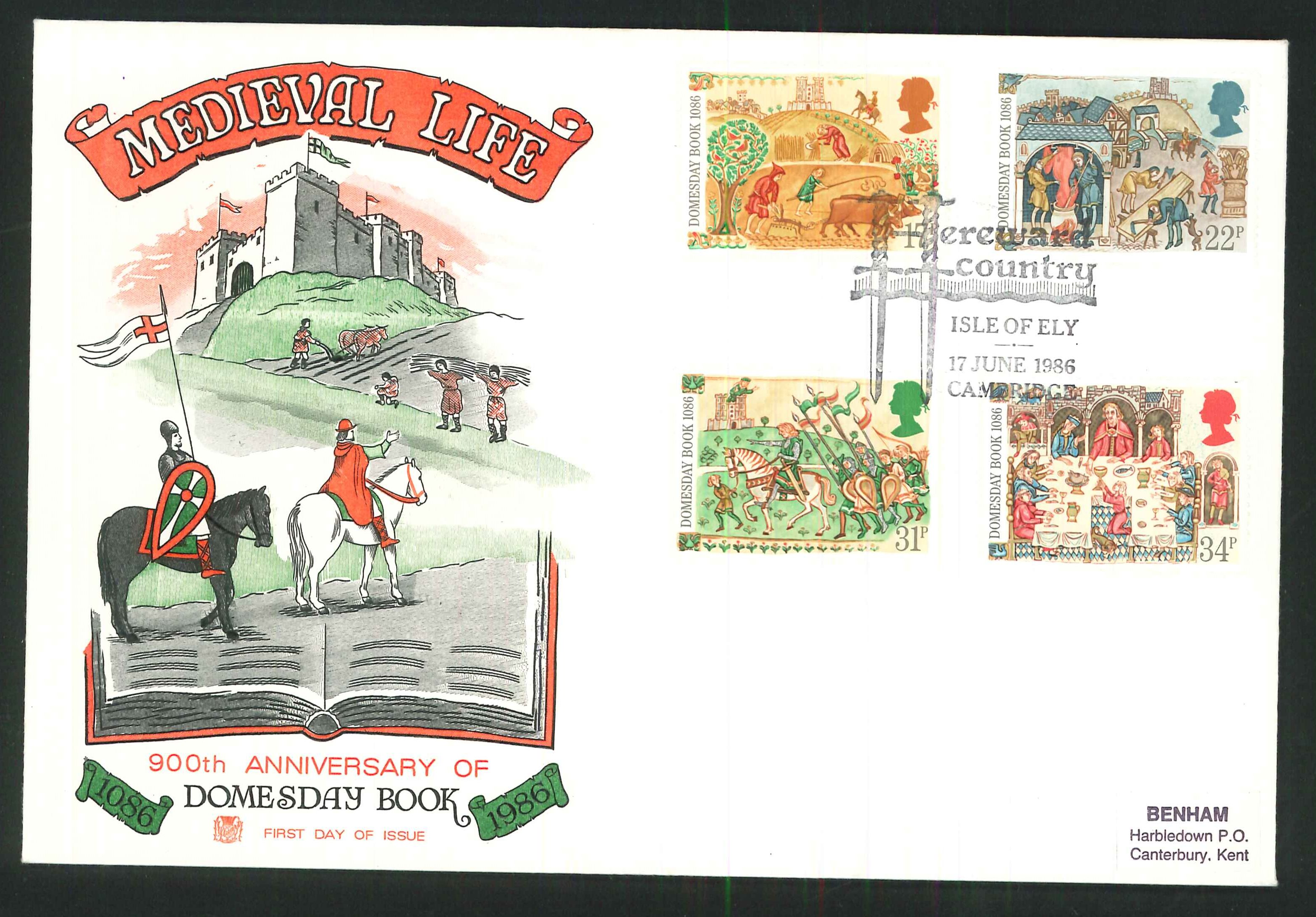 1986 - Medieval Life, First Day Cover , Isle of Ely, Cambridge Postmark