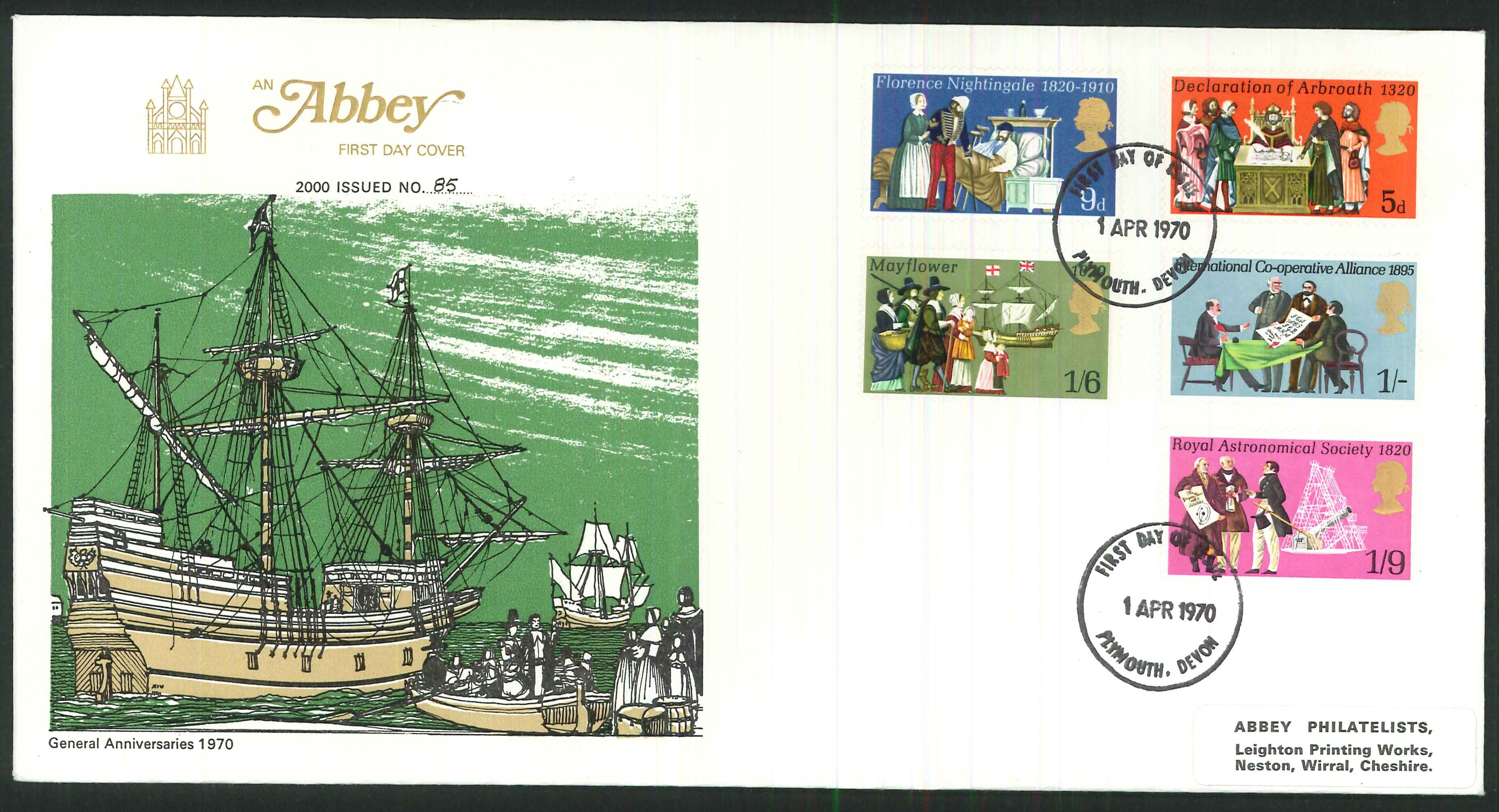 1970 - General Anniversaries, First Day Cover, Plymouth Postmark