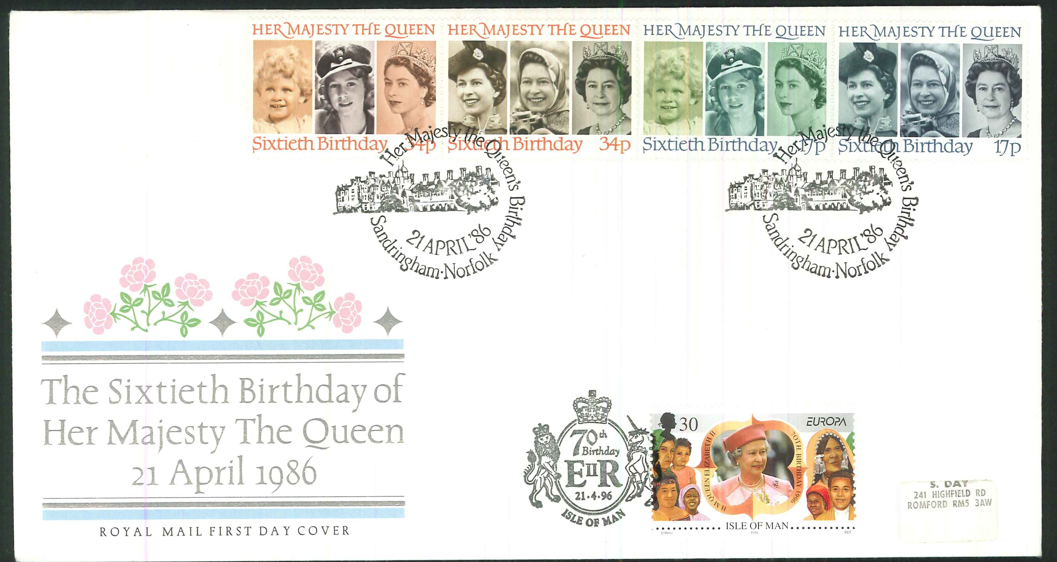 1986 - Queen's 60th Birthday, First Day Cover, Dual Sandringham / Isle of Man Postmark