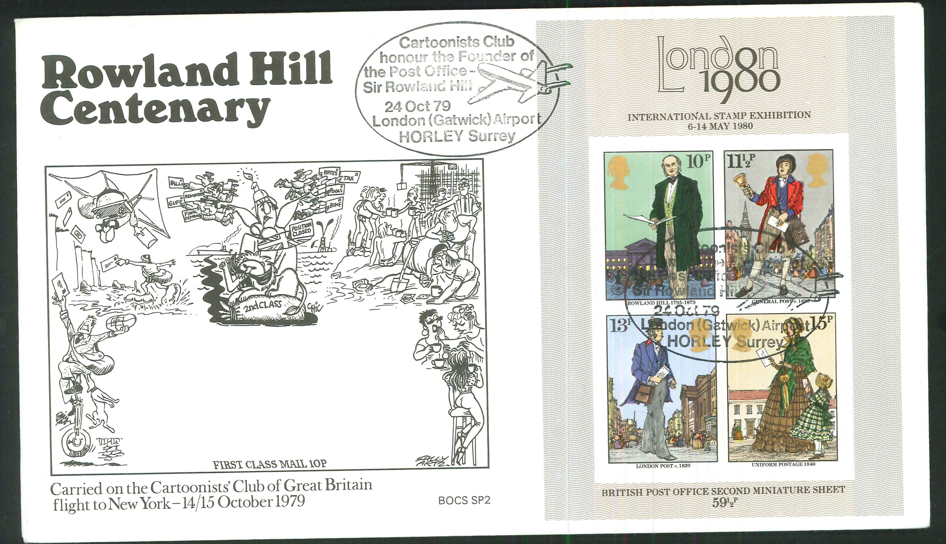 1979 - Sir Rowland Hill Centenary, First Day Cover- Cartoonists Club, London Gatwick Airport Postmark
