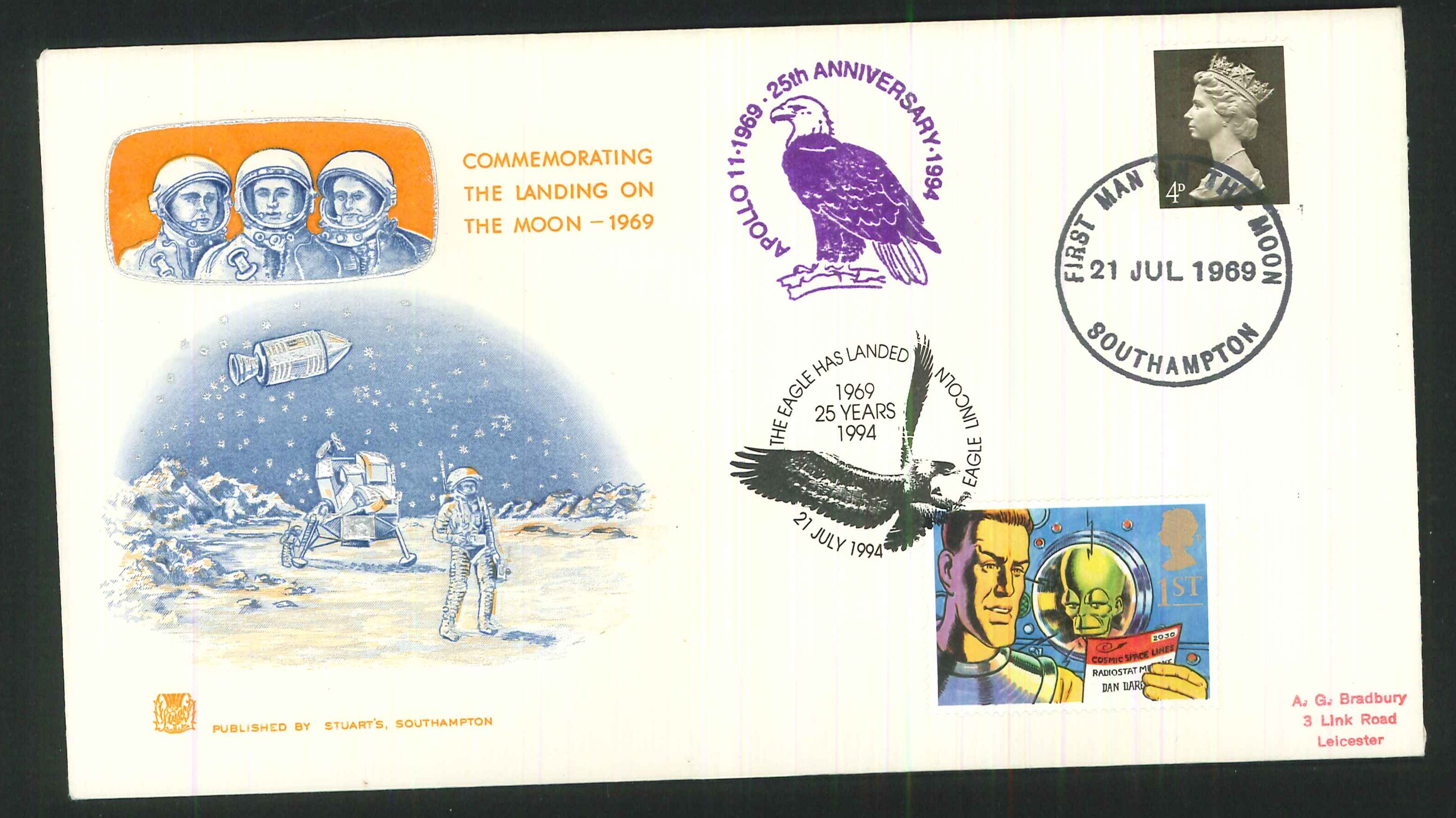 1969 - First Man on the Moon, First Day Cover, Dual Southampton / Eagle Lincoln Postmarks
