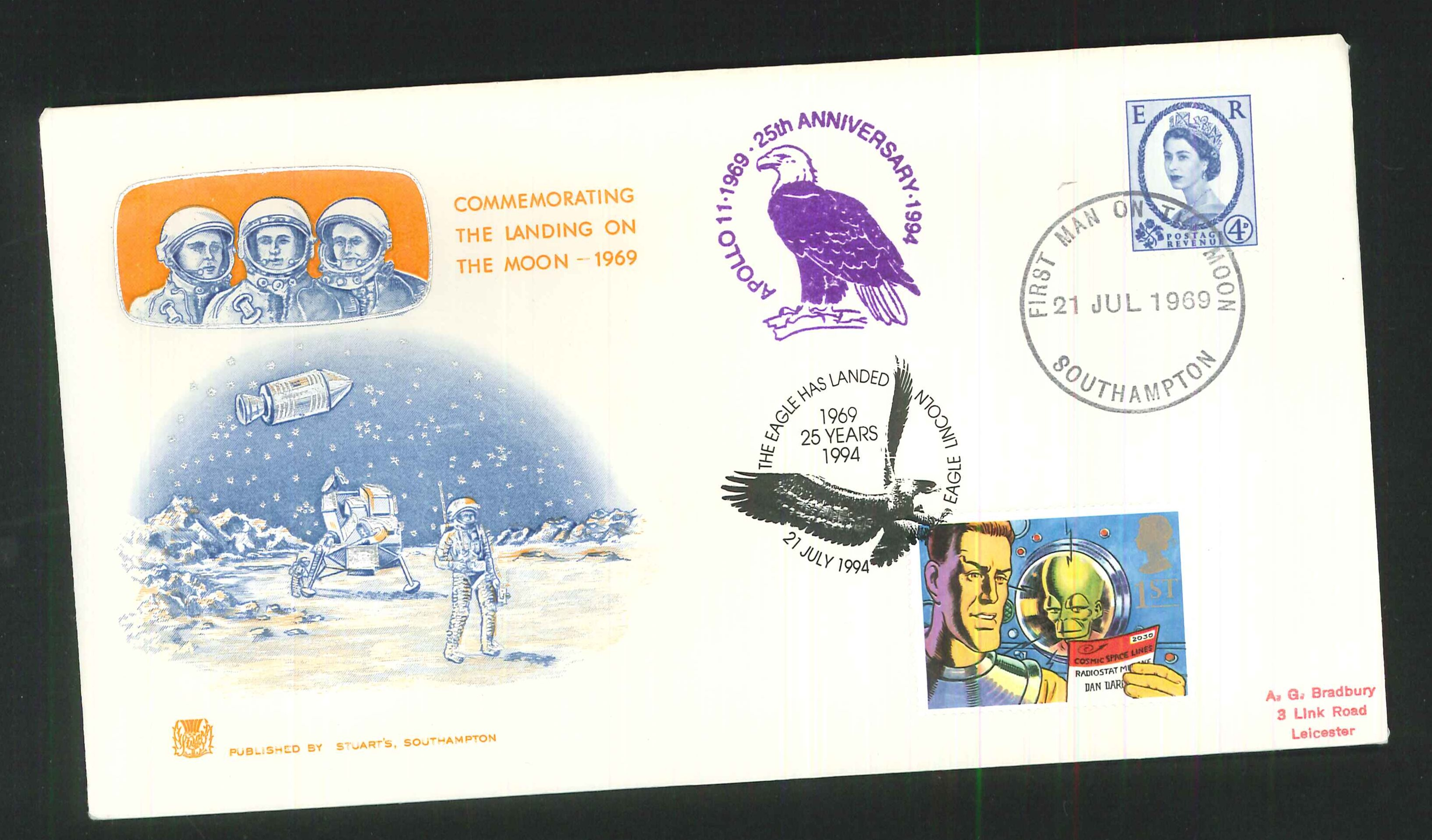 1969 - First Man on the Moon (Wilding), First Day Cover, Dual Southampton / Eagle Lincoln Postmarks