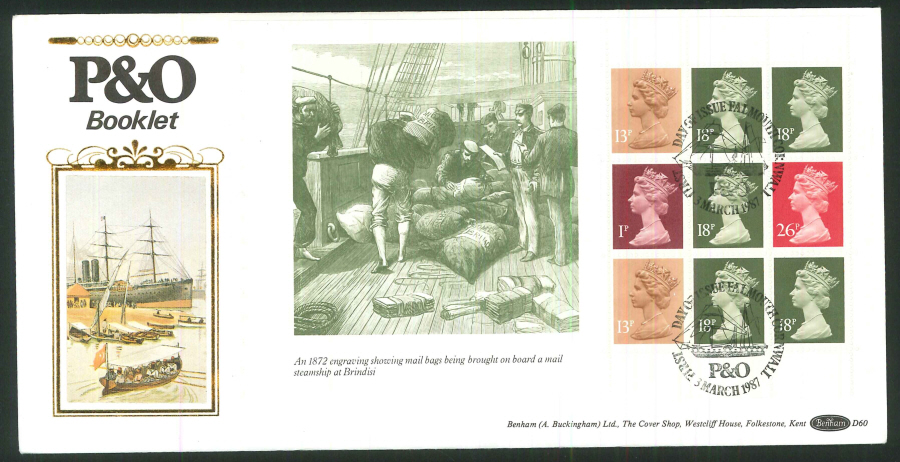 1987 -P & O Prestige Stamp Books First Day Cover, Falmouth Postmark