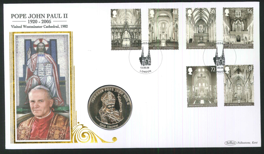2008 Cathedrals Coin First Day Cover - Crown Coin and Cathedral London Postmark