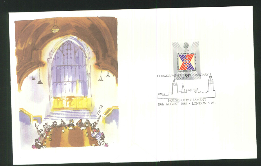 1986 Parliamentary Conference First Day Cover - Houses of Parliament Postmark