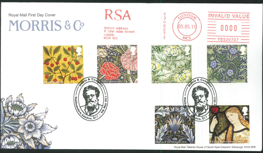 2011 Morris & Co Royal Mail First Day Cover - Walthamstow / RSA Postmarks