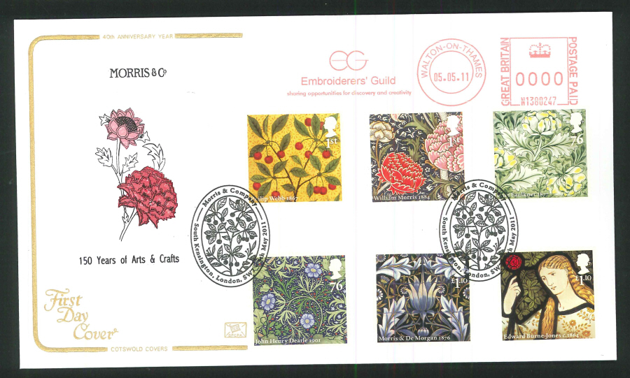 2011 Morris & Co Cotswold First Day Covers - South Kensington / Embroiders Guild Postmarks