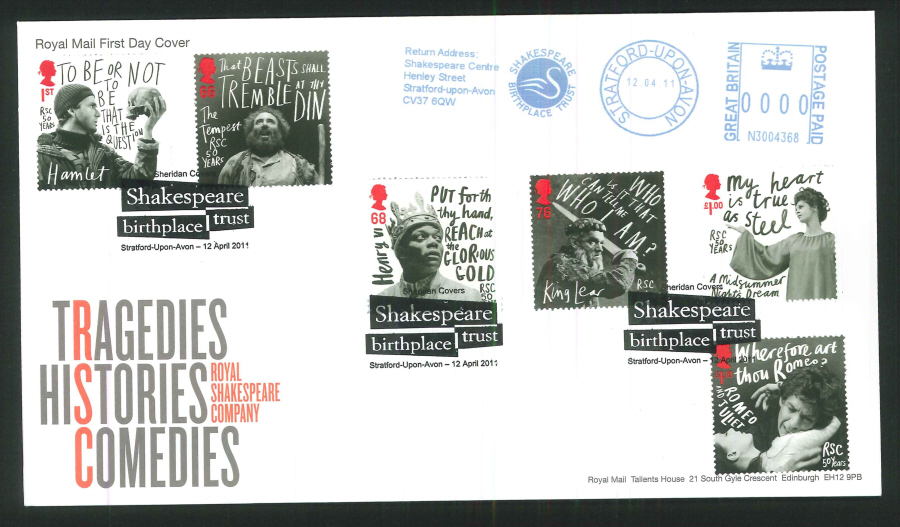 2011 Royal Shakespeare Company - Royal Mail First Day Cover- Stratford Upon Avon / Shakespeare Trust Postmarks