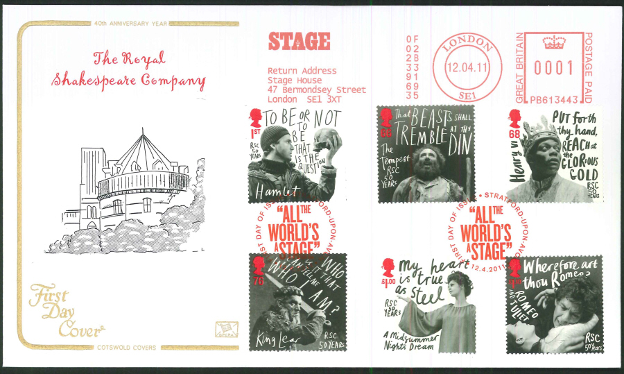 2011 Royal Shakespeare Company, Cotswold First Day Cover - Stratford upon Avon / Stage Postmark
