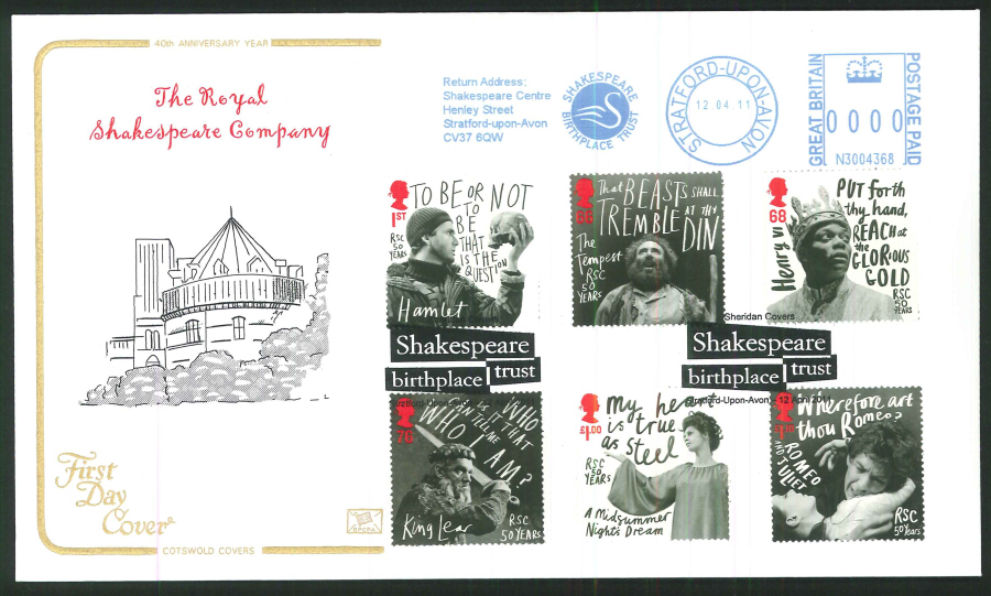 2011 Royal Shakespeare Company, Cotswold First Day Cover - Stratford upon Avon / Shakespeare Trust Postmarks
