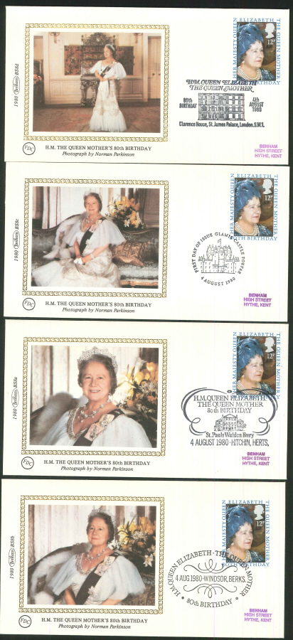 1980 - H.M The Queen Mother's 80th Birthday - Set of 4 Covers - Various Postmarks