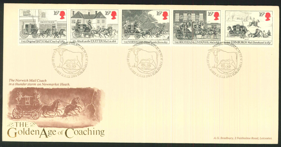 "1984 - ""The Golden Age of Coaching"" Royal Mail First Day Cover - Edinburgh Postmark"