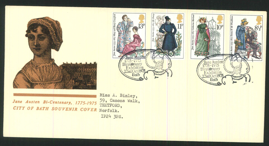 "1975 - ""Jane Austin Bi-Centenary, 1775-1975 "" First Day Cover - Bath Postmark"