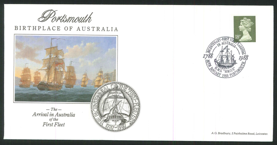 1988 - Arrival in Australia of the First Fleet Commemorative Cover - Portsmouth Postmark