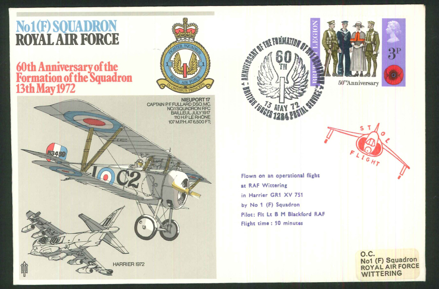 1972 - 60th Anniversary of RAF No.1(F) Squadron Commemorative Cover - BF1284PS Postmark