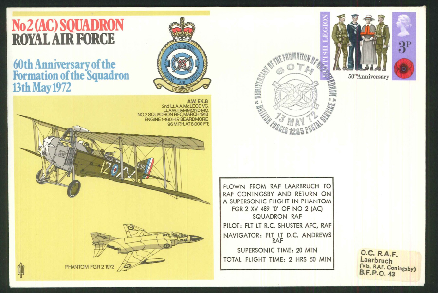 1972 - 60th Anniversary of RAF No.2(AC) Squadron Commemorative Cover - BF1285PS Postmark