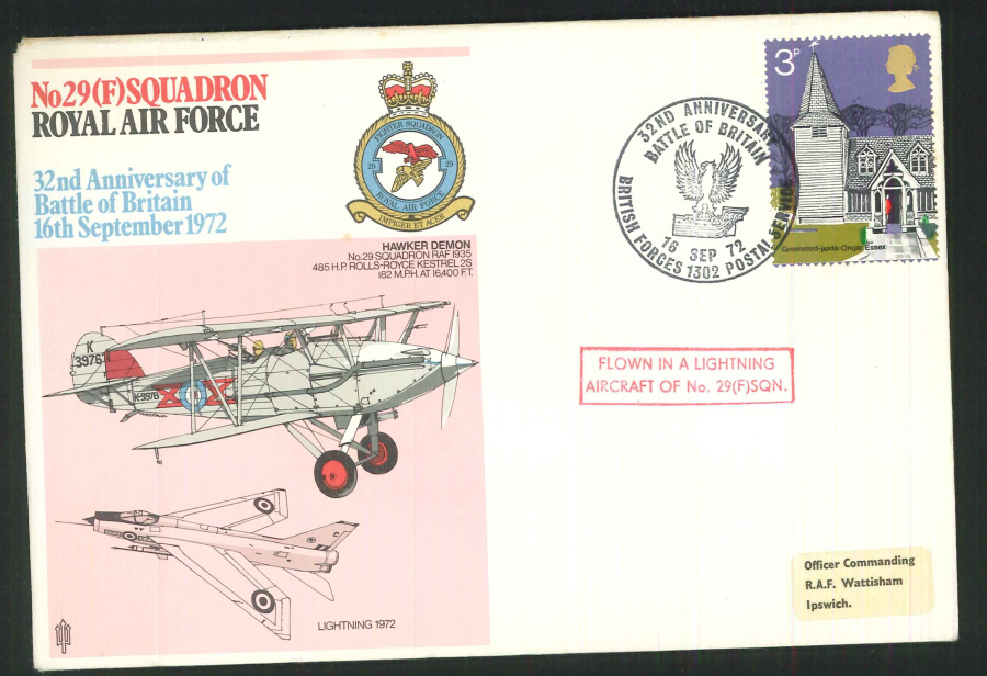 1972 - 32nd Anniv. Battle of Britain RAF No.29(F) Squadron Commemorative Cover-BF1302PS Postmark