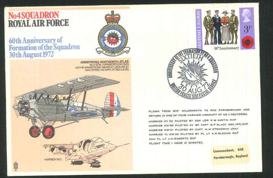 1972 - 60th Anniversary of RAF No.4 Squadron Commemorative Cover - BF1301PS Postmark