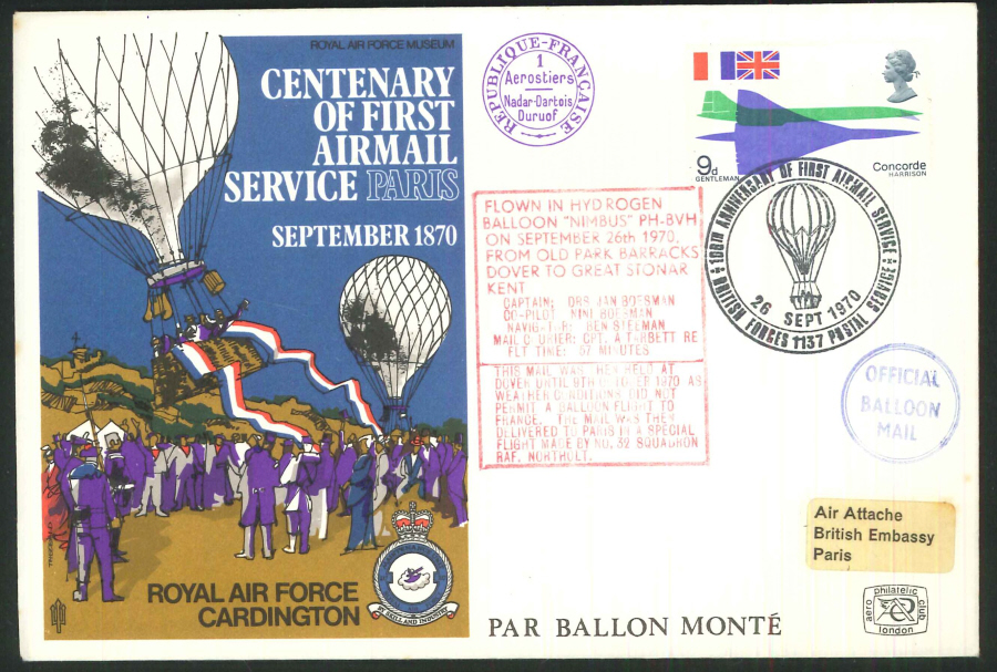 1970 -Centenary of First Airmail Service to Paris Commemorative Cover-BF1137PS & French Postmark