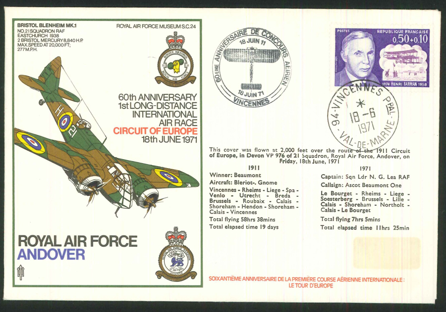 1971 - 60th Anniversary First Long Distance Air Race Commemorative Cover - Val de Marne Postmark