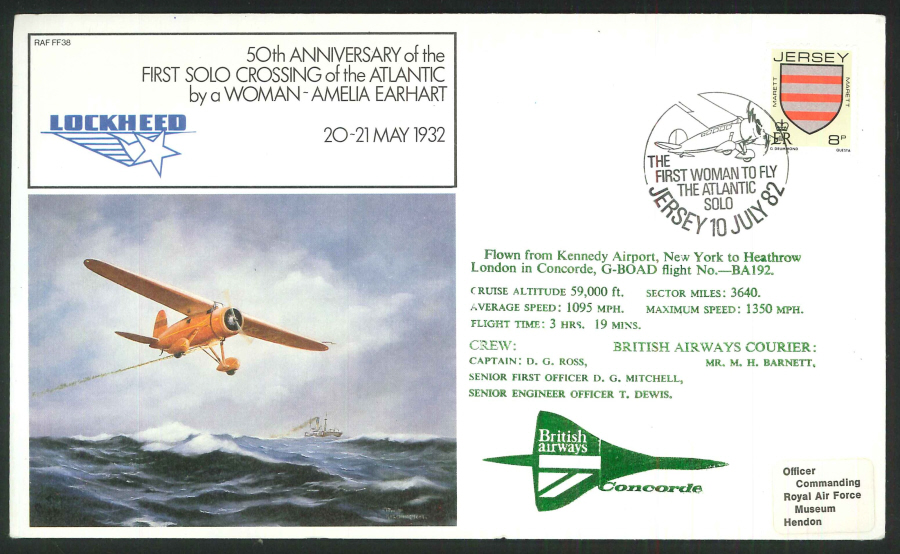 1982 - 50th Anniversary First Atlantic Solo Crossing by a Woman Commemorative Cover - Jersey Postmark