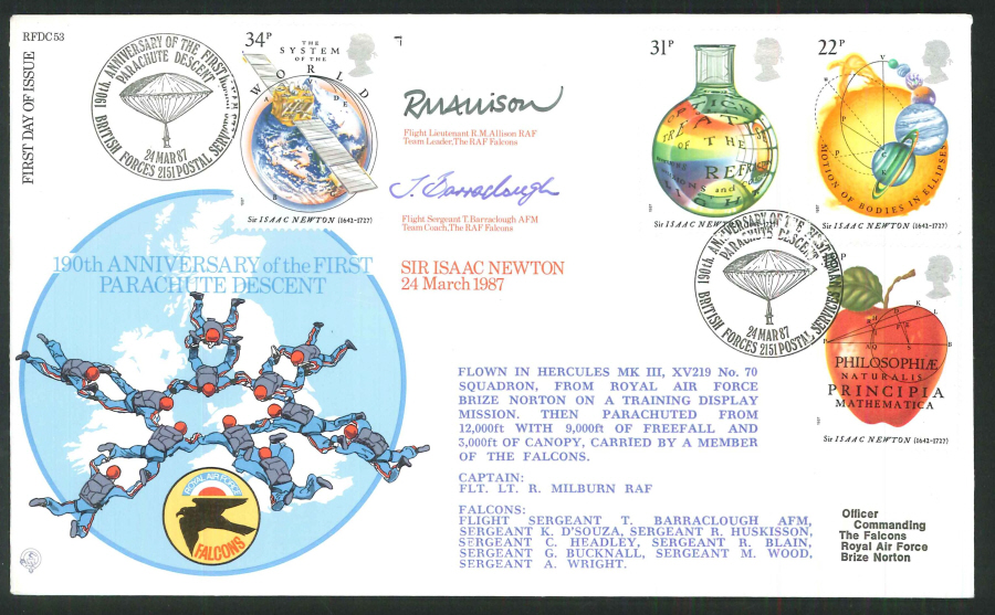 1987 - Sir Issac Newton - 190th Anniv of First Parachute Descent, FDC - BF2151PS Pmk - Signed